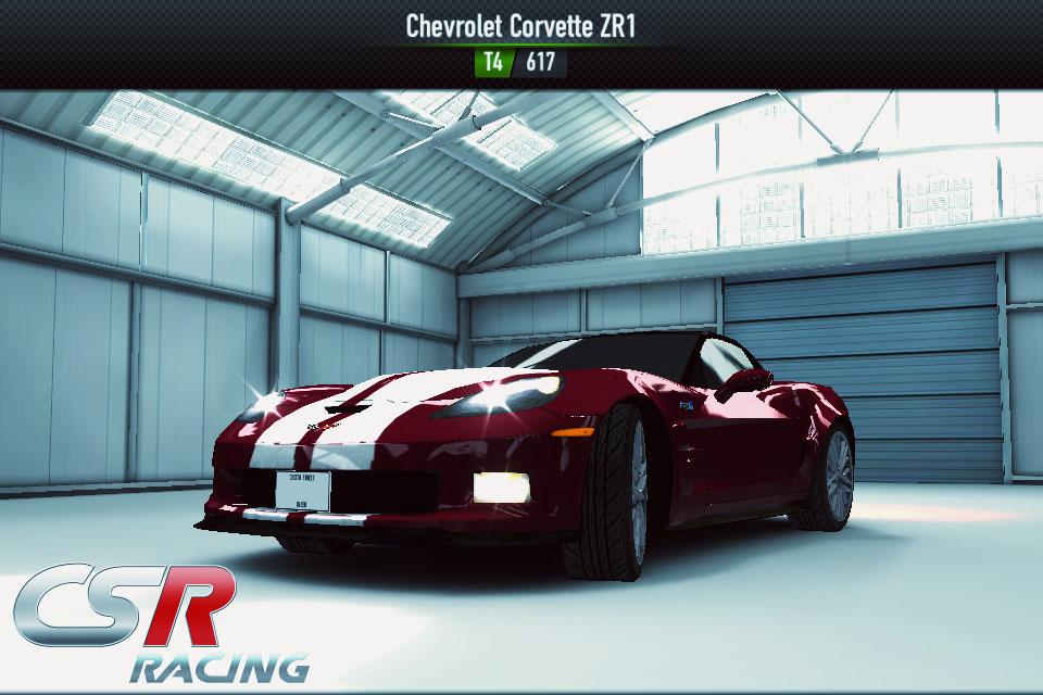 Kalau di Tier 2 dan 3 saya setia dengan produk Ford. Pada Tier 4 saya beralih kesaingannya yaitu Chevrolet. Mobil corvette ZR1 merupakan saingan Ford GT. Mobil di Tier 4 CSR racing. Bentuknya keren,mesinnya kuat namun sayang bobotnya berat. Sungguh American Muscle car sejati,hehehhe