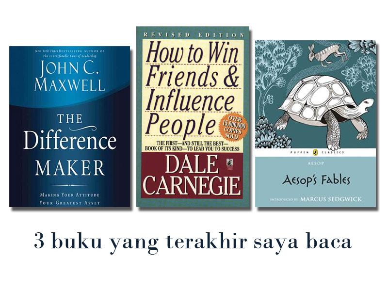 3 buku yang terakhir saya baca. Sangat recoomended banget dan bagus+menghibur.