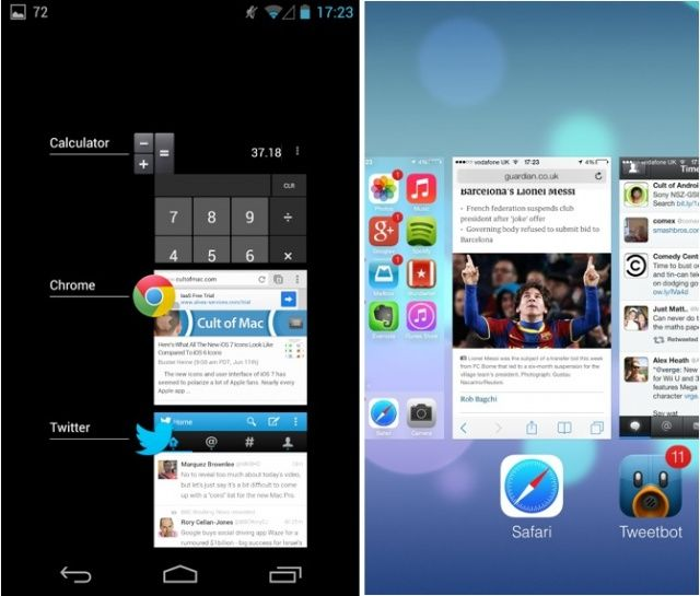 Android mengusung gaya portrait atau vertikal. Sedangkan iOS 7 mengusung gaya landscape/horizontal. Menurut saya dalam hal ini Android lebih baik karena dengan menampilkan gaya portrait bisa memuat lebih banayk informasi