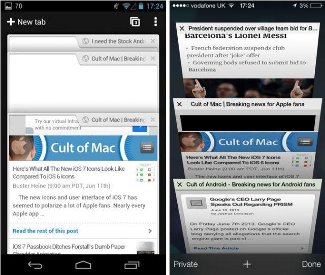 betapa miripnya tab di google chrome Android dan Safari iOS 7. Kiri Android-kanan iOS: Cuman beda sudut doank. Astagaaaa, gak ngerti lagi aku sih.