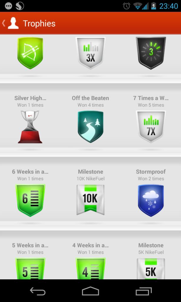 Pencapaian-pencapaian yang bisa didapatkan saat menggunakan Nike+ Running Apps