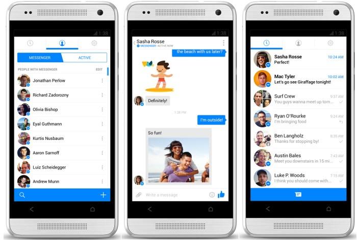 Ini nih penampakan FB messenger. Mirip juga dengan aplikasi BBM terbaru di BB OS 10.2 deh