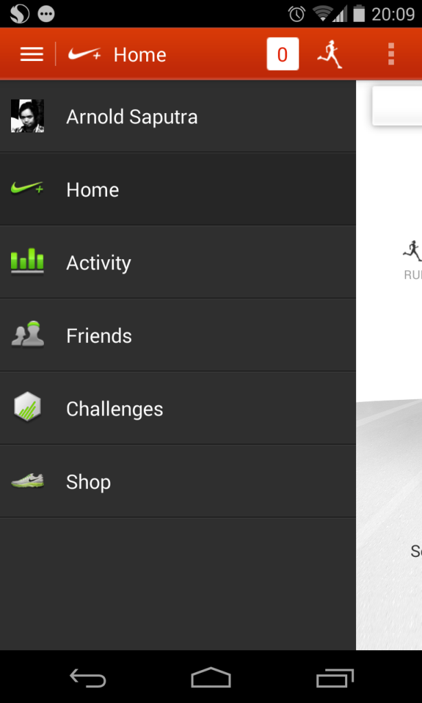 """Ini Penampakan """"Main Menu"""" dari Aplikasi Nike kalau di swipe ke kiri."""