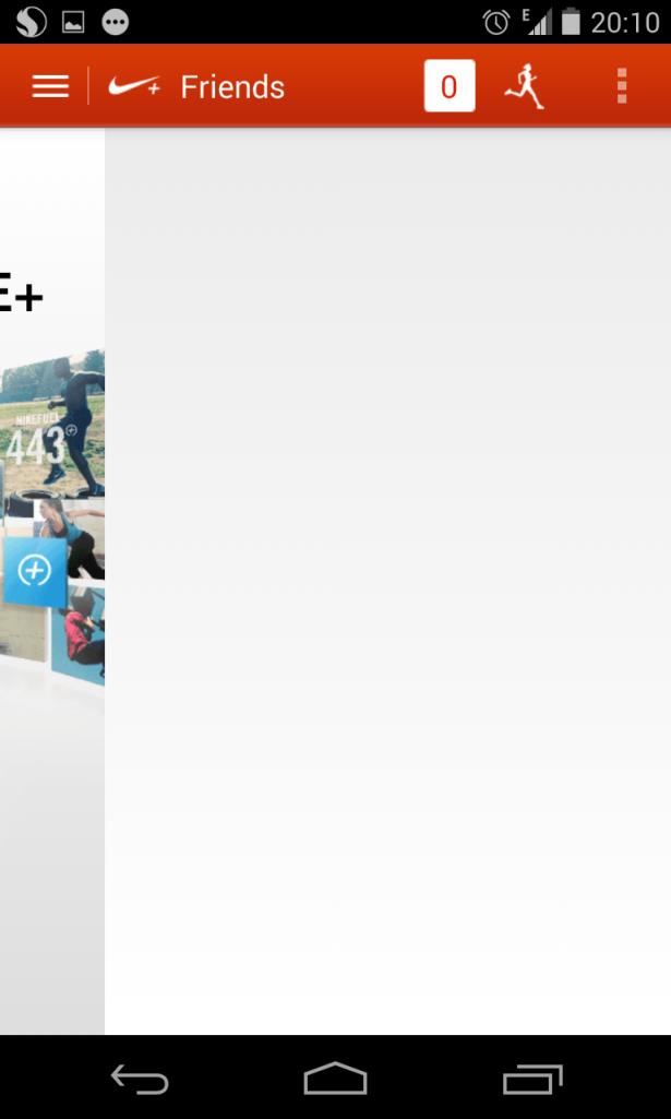 """Ini Penampakan """"Main Menu"""" dari Aplikasi Nike kalau di swipe ke kanan. WHAAATTTT???"""
