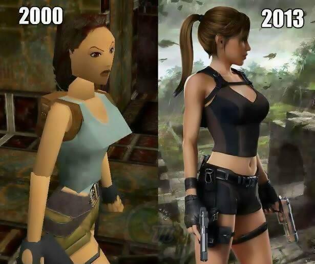 Seberapa penting grafik pada game? Gambar perbedaan Lara Croft thn 2000 dan 2013.