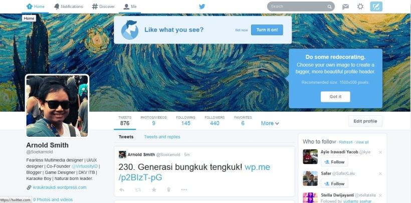Tampilan baru Twitter=Facebook timeline!: Ini dia nih tampilannya yang baru. Mirip sama Facebook timeline kan?
