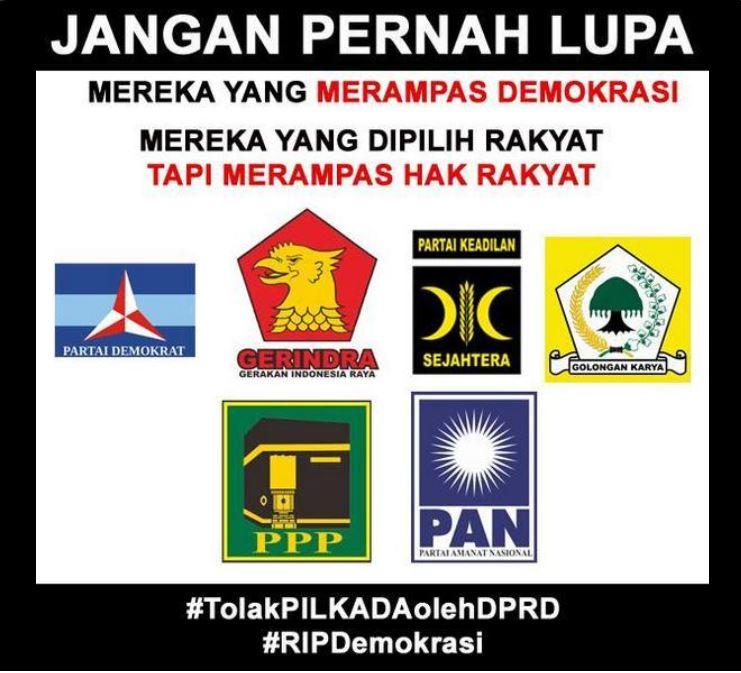 Ini dia salah satu contoh Meme yang dibuat masyarakat Indonesia sebagai bentuk kekecewaan terhadap Pilkada tak langsung