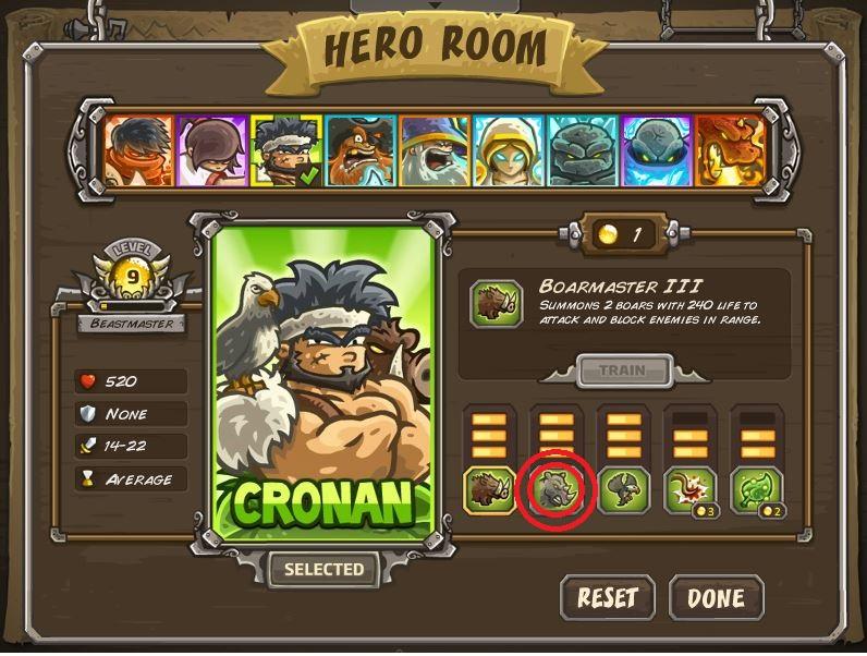 """Strategi memenangkan level paling sulit di kingdom Rush Frontiers:(nazeru gate). Siapkan Hero Cronan """"The Barbarian"""" dan pastikan dia memiliki skill """"Stampede"""" (yang dilingkari merah) level maksimal."""