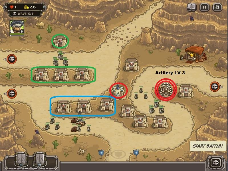 Strategi memenangkan level paling sulit di kingdom Rush Frontiers:(nazeru gate) . Pastikan Anda membangun seperti gambar di atas. Bagian merah: Bangunlah artilery level 3 di bagian kanan layar. Di sebelahnya bangun juga Mage tower level 1 saja.  Tempatkan posisi Militia seperti di bagian hijau dan biru. Kumpulkan mereka di satu titik agar fokus.