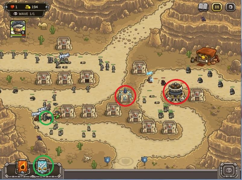 """Strategi memenangkan level paling sulit di kingdom Rush Frontiers:(nazeru gate) . Segera Upgrade Artillery ke level 4 lalu, kalau ada sisa uang gunakan untuk meng upgrade mage tower ke level 2. Selalu pasang """"mercenary"""" ke titik warna hijau."""