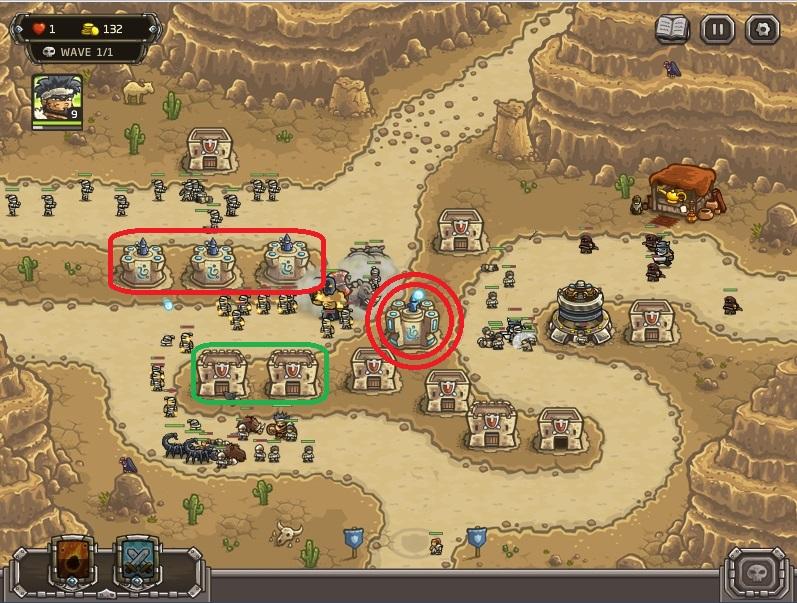 Strategi memenangkan level paling sulit di kingdom Rush Frontiers:(nazeru gate) . Segera upgrade Mage tower ke level 3! Setelah itu gunakan uang yang ada untuk meng upgrade mage tower di bagian merah terutama dari titik yang ada di kiri baru ke kanan. Upgrade satu persatu.  Sisa uangnya gunakan untuk  meng upgrade barack di titik hijau.