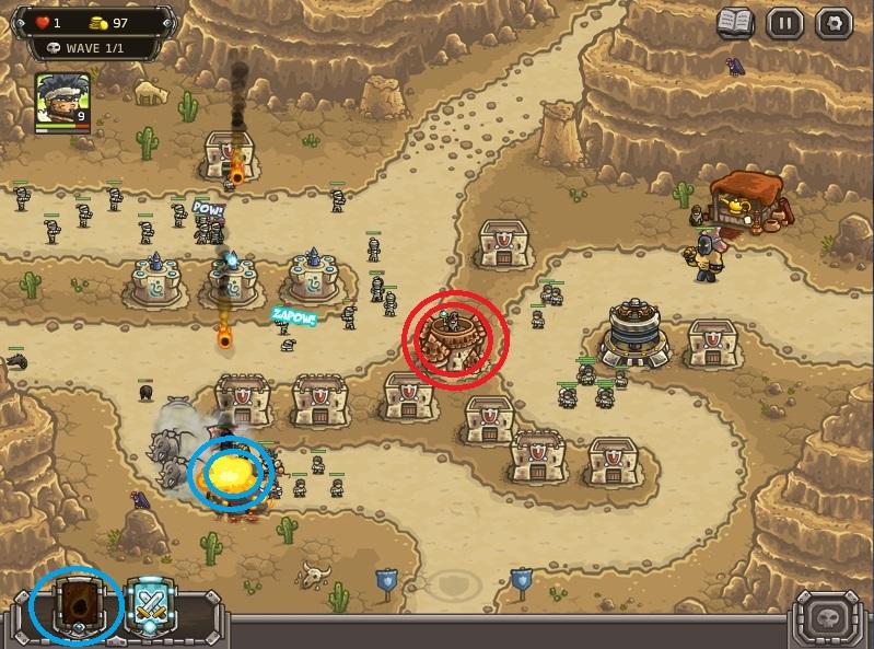 Strategi memenangkan level paling sulit di kingdom Rush Frontiers:(nazeru gate) . Gunakan Meteor (titik biru) untuk membunuh kalajengking yang berkumpul di kiri bawah layar. Hanya gunakan saat mereka berkumpul (2-3) yah! Gunakan yang yang ada untuk meng upgrade Mage tower ke level 4. (titik merah)