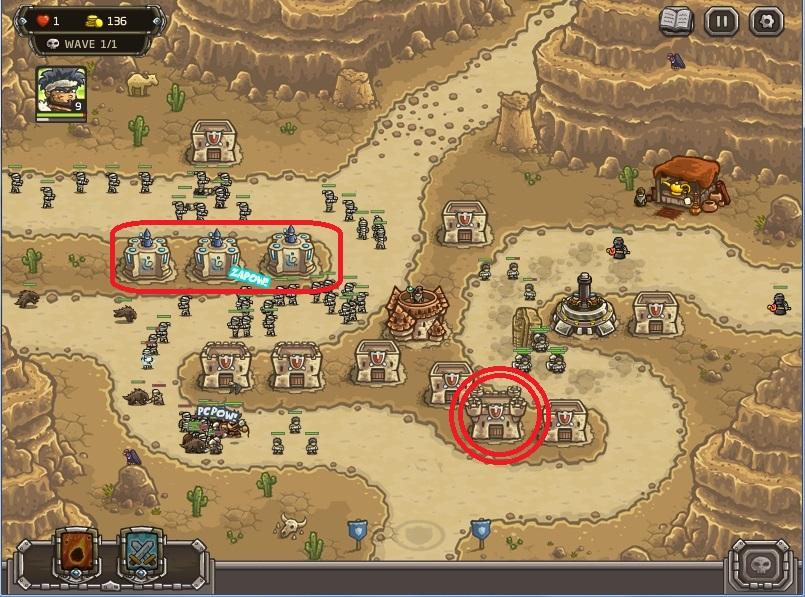 Strategi memenangkan level paling sulit di kingdom Rush Frontiers:(nazeru gate) . Upgrade Barrack (lingkaran merah) di bagian kanan hingga level 3. Sisa uangnya gunakan untuk meng upgrade mage tower ke level 2 mulai dari yang paling kiri.