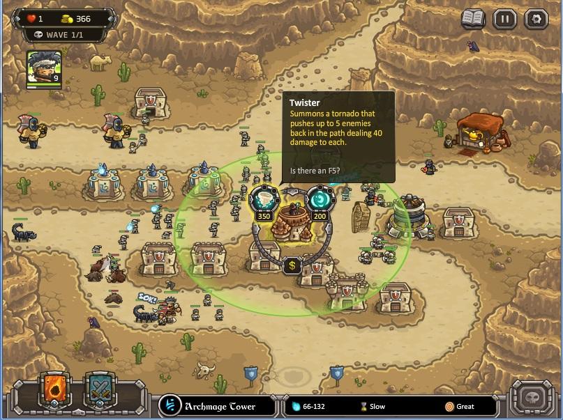 Strategi memenangkan level paling sulit di kingdom Rush Frontiers:(nazeru gate) . Kumpulkan uang untuk meng upgrade Mage tower supaya memiliki skill Twistter. Gunanya untuk membunuh secara instan musuh-musuh mumi.