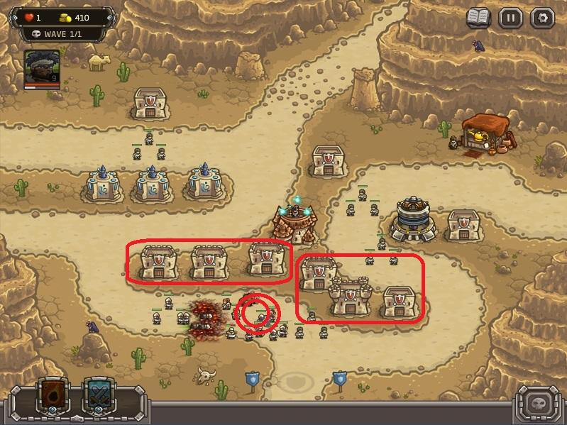 Strategi memenangkan level paling sulit di kingdom Rush Frontiers:(nazeru gate) . Pada tahap terakhir ini upgrade barrack di bagian bawah ke level 2 dan 3 (bagian merah) lalu posisikan semua pasukan di lingkaran merah. Pada tahap ini Cronan Saya mati dan jangan ragu gunakan meteor saat musuh berkumpul.