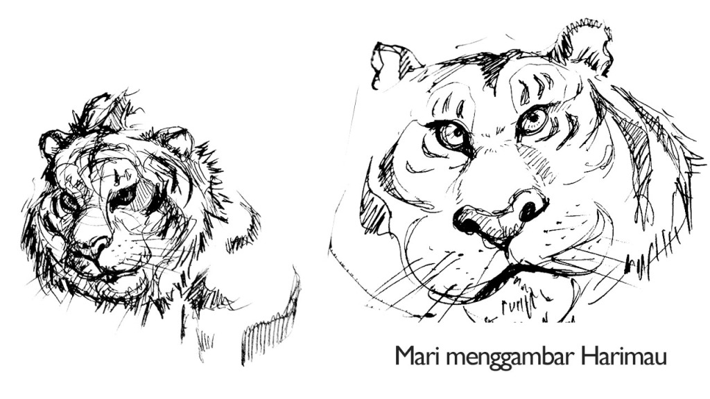 374. Susahnya menggambar harimau!  ini dia hasil gambar Saya. Gimana? kagak mirip kan? ahahhaa