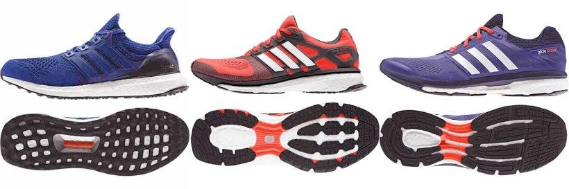 426. Apa yang saya pelajari dari Sepatu lari League! Sepatu lari Adidas! Dari kiri ke kanan: Ultra Boost, Energy Boost 2 dan Glide Boost 7